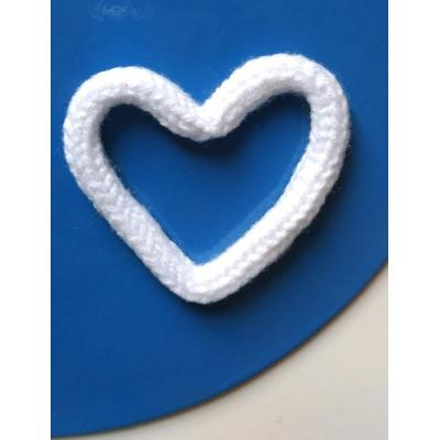 Coração Tricotim Branco P