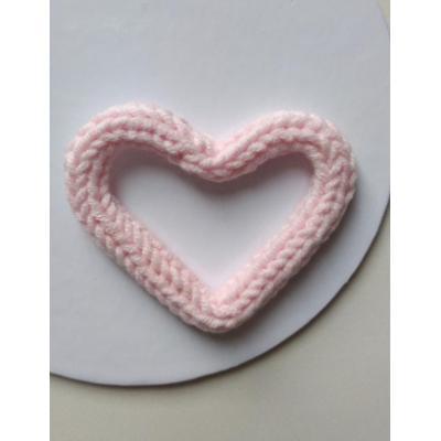 Coração Tricotim Rosa Bebê P