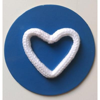 Coração Tricotim Branco G