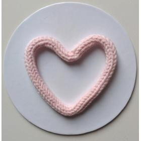 Coração Tricotim Rosa Bebê G