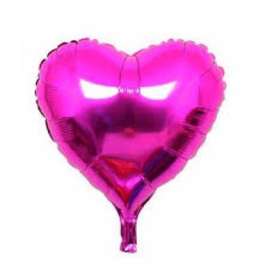 Balão Metalizado Coração Rosa 25cm