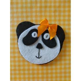Topo de Bolo Panda com Laço Amarelo