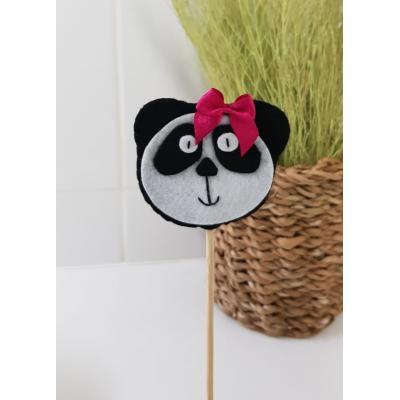 Topo de Bolo Panda com Laço Pink